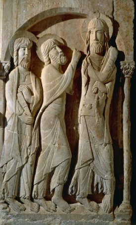 Christ and Pilgrims of Emmaus, detail from pillar in monastery of St Dominic of Silos, Spain.