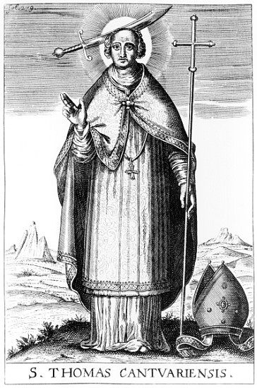 XJF359022 St. Thomas Becket (engraving) by English School, (18th century); Private Collection; (add. info.: Thomas a Becket (1118-70) Archbishop of Canterbury; murdered in Canterbury Cathedral on the orders of King Henry II of England); English, out of copyright