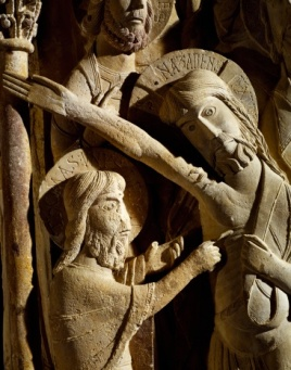 The doubting of St Thomas, detail from pillar of St Dominic's monastery, Silos, Spain, 11th-12th century