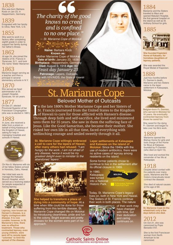 st marianne cope - 23 jan