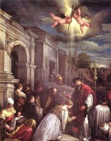 Saint Valentine baptizing Saint Lucilla by Jacopo Bassano