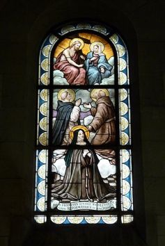 Stained glass window in Our Lady of the Rosary Church Saint-Ouen, France
