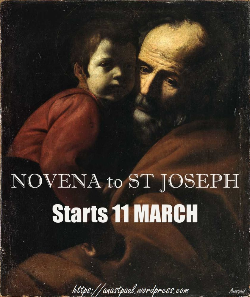 NOVENA TO ST JOSEPH STARTS 11 MARCH