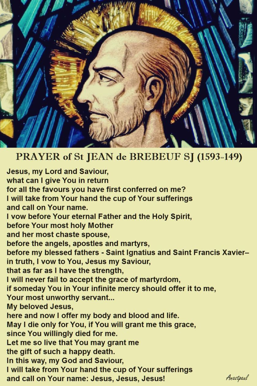 PRAYER OF ST JEAN DE BREBEUF