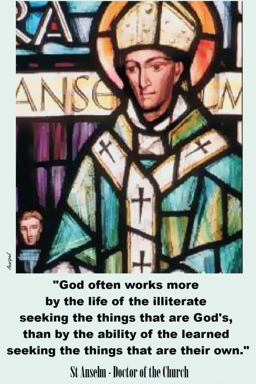 GOD OFTEN WORKS MORE - ST ANSELM