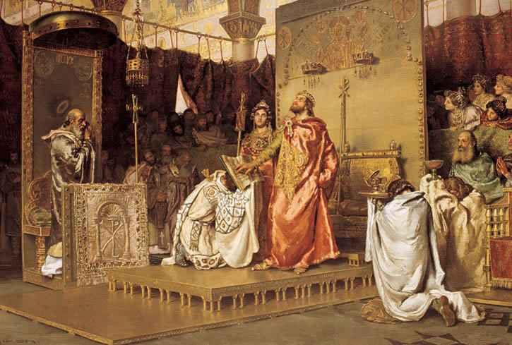 King Reccared abjures his heresy before St. Leander.