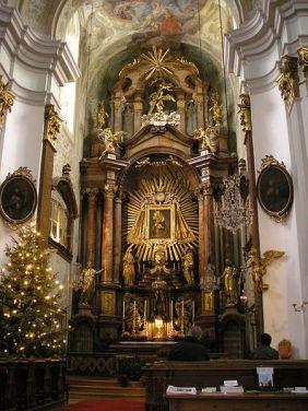 Interior view of the Mariahilferkirche church on Haydnplatz in Vienna.
