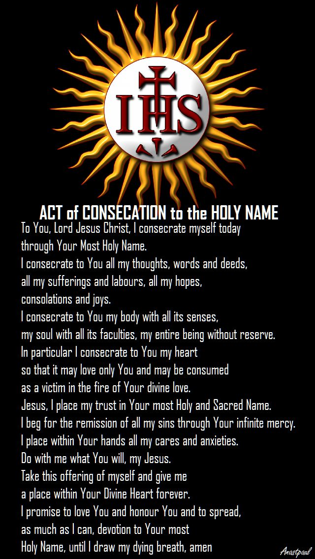 CONSECRATION HOLY NAME