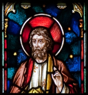 Enniscorthy_St._Aidan's_Cathedral_East_Aisle_First_Window_Apostle_Matthias_Detail_2009_09_28