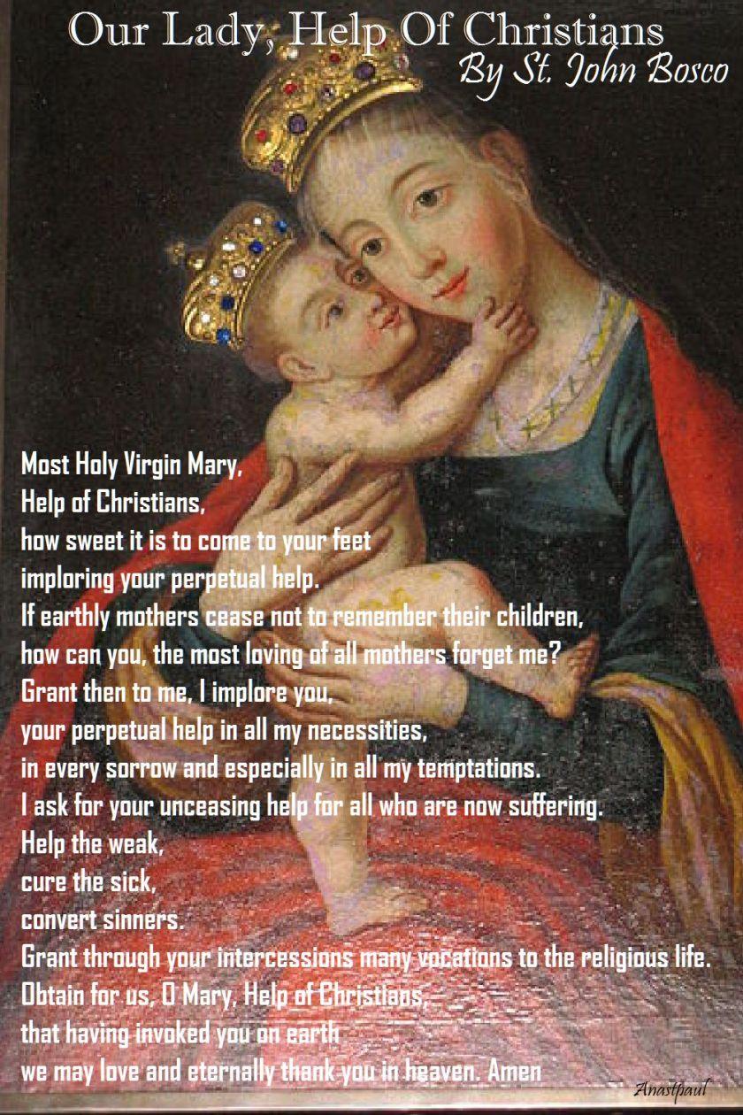 OUR LADY HELP OF CHRISTIANS PRAYER BY ST JOHN BOSCO