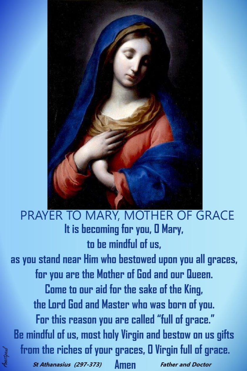 PRAYER TO MARY MOTHER OF GRACE-ST ATHANASIUS