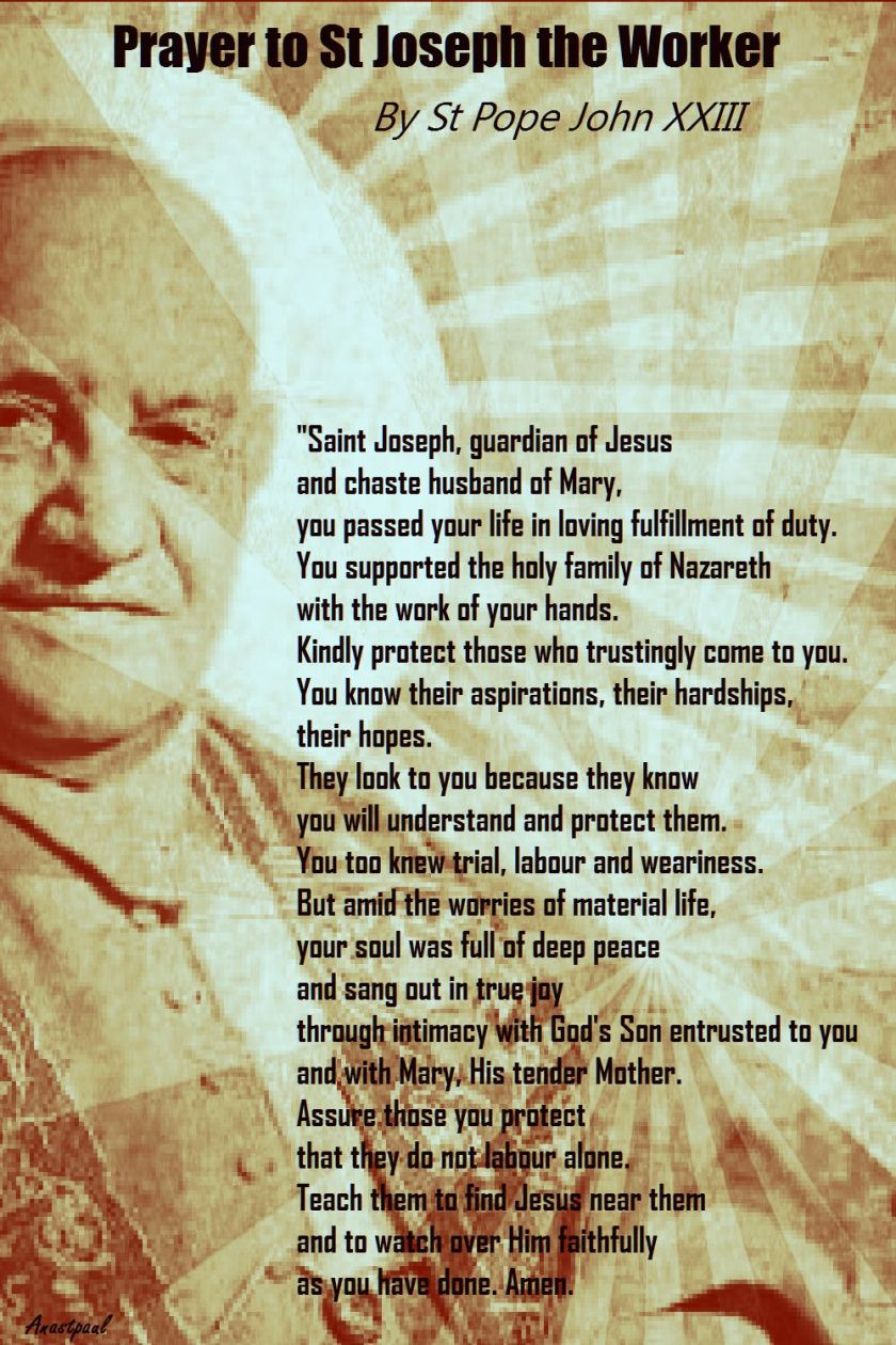 PRAYER TO ST JOSEPH THE WORKER BY ST POPE JOHN XXIII