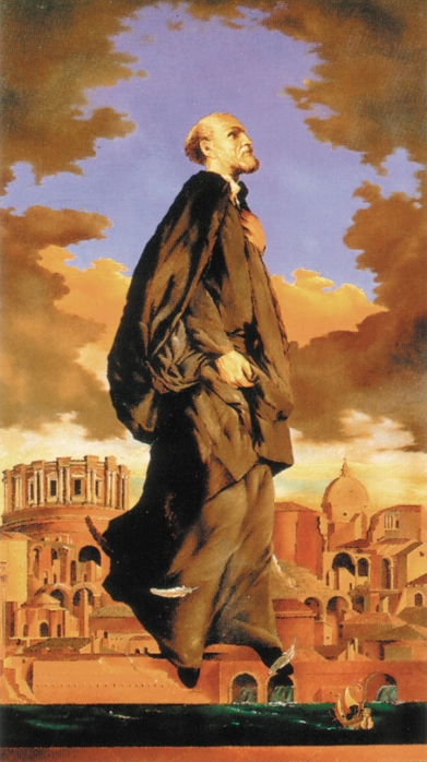 "A modern image of St. Philip Neri by Salvo Russo is one of 550 color images in a new book, ""The Catholic Priest -- Image of Christ through Fifteen Centuries of Art."" In gratitude to God for his conversion to Catholicism, Danish author Steen Heidemann spent seven years traveling the world to collect images for the book. (CNS photo/courtesy of Edizioni Cantagalli, publisher) (March 23, 2010) See PRIESTHOOD-ART March 23, 2010."