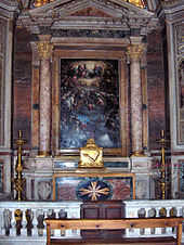 The altar with the relics of the arm of Andrew Bobola in the church of Il Gesù in Rome.