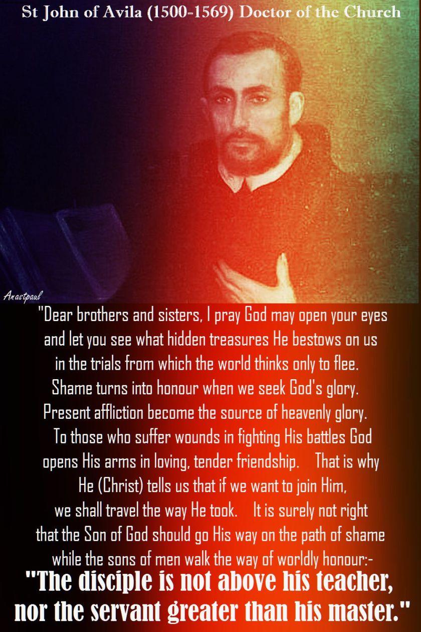 THE DISCIPLE-ST JOHN OF AVILA