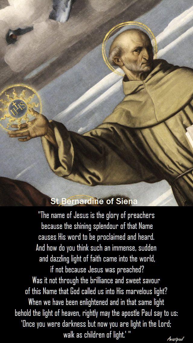 the name of jesus - st bernardine of siena