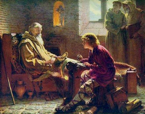 Venerable Bede Translating the Gospel of John, by JD Penrose