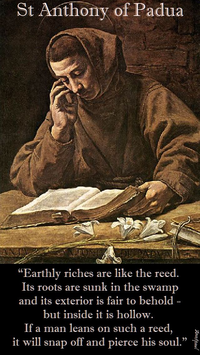 earthly riches are like the reed-st anthony of padua