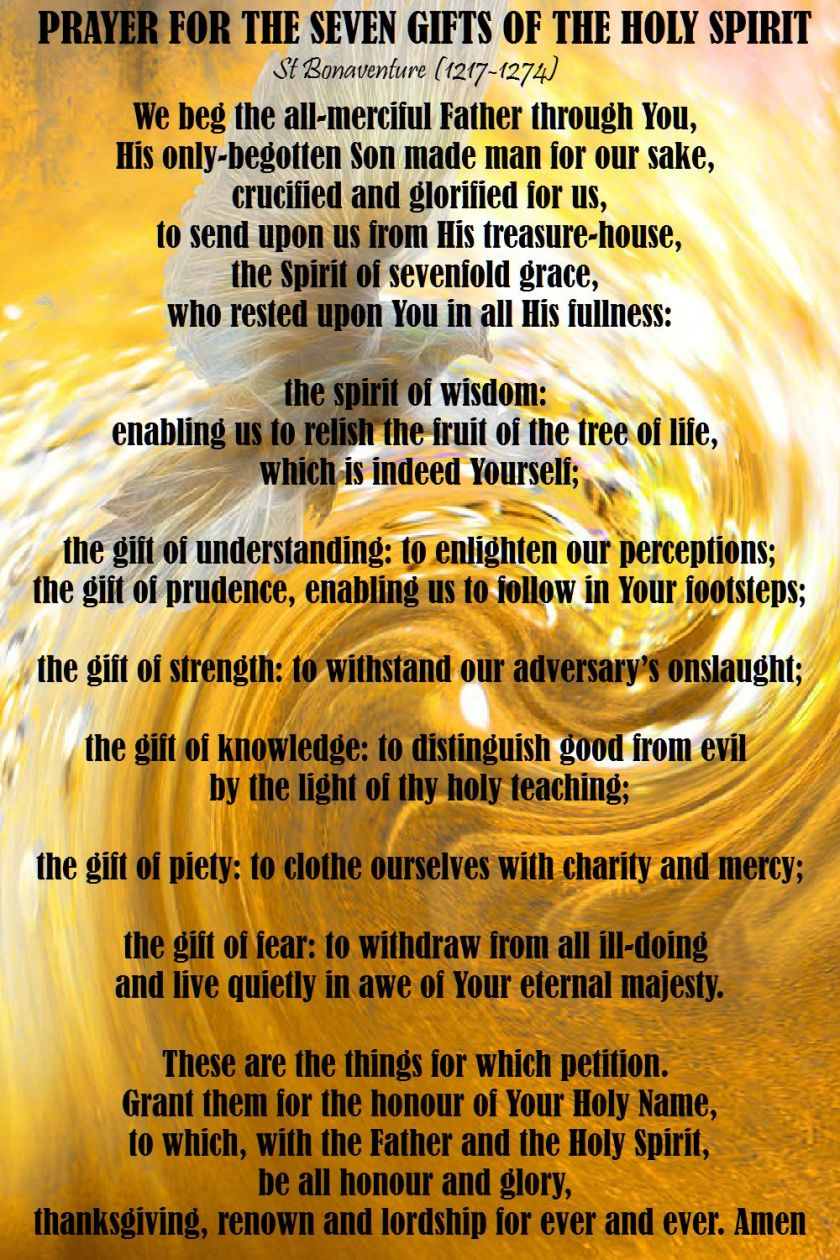 prayer for the seven gifts of the holy spirit - st bonaventure