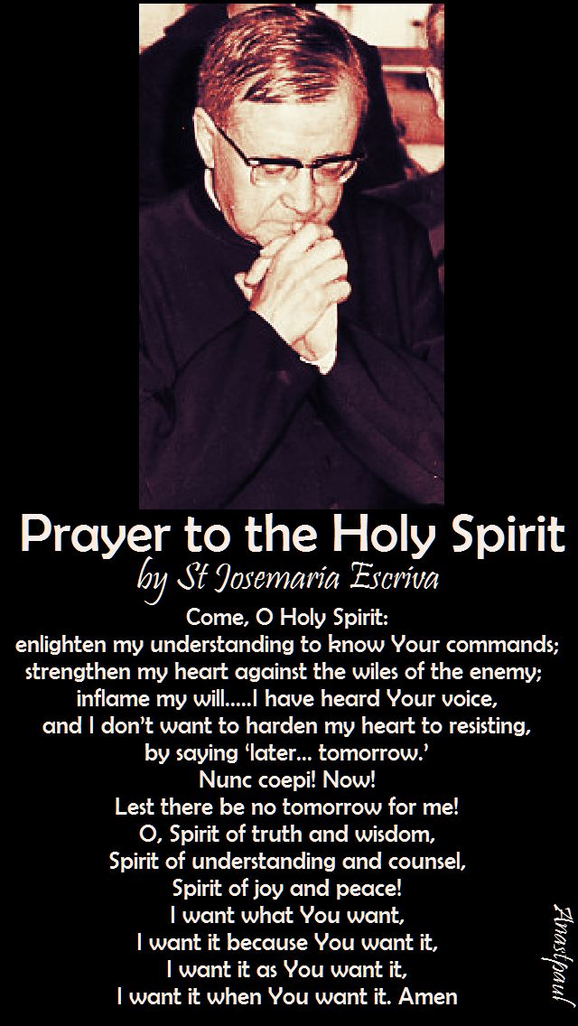 prayer to the holy spirit by st josemaria