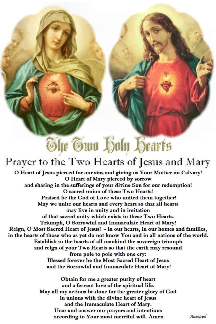 Prayer to the Two Hearts of Jesus and Mary