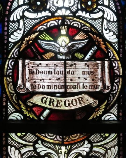 Sorrowful_Mother_Shrine_Chapel_(Bellevue,_Ohio)_-_stained_glass,_Gregor._Te_Deum
