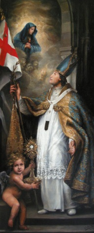 St Norbert gives England to Our Lady of Sorrows. It was painted in Oxford by the young and talented artist Alvin Ong 2014