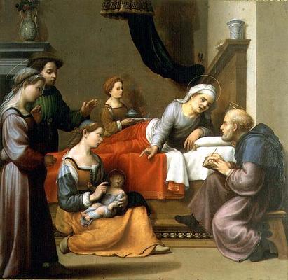 AII78336 The Birth of St. John the Baptist; by Bugiardini, Giuliano (1475-1554); Galleria e Museo Estense, Modena, Italy; Italian, out of copyright