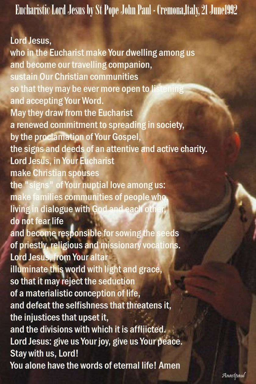 eucharistic lord jesus by st john paul