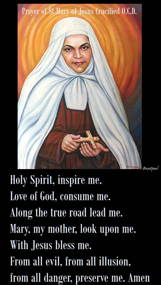 holy spirit,inspire me-st mary of jesus crucified