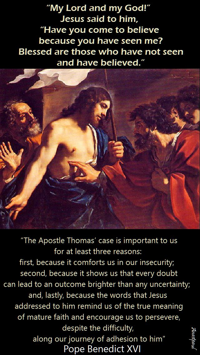 pope benedict - the apostle Thomas case