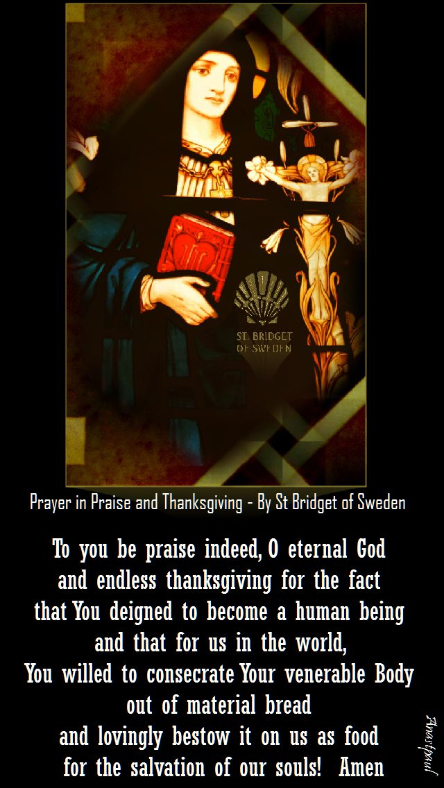 prayer in praise and thanksgiving by st bridget of sweden