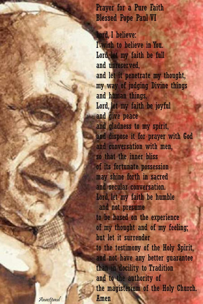 prayer of bl pope paul VI - lord I believe