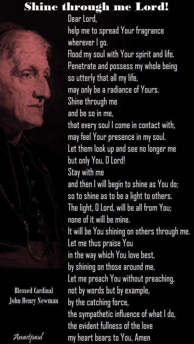 shine through me lord - bl john henry newman