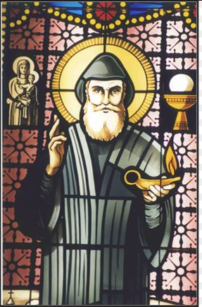 st charbel makhluf with holy eucharist