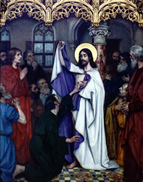 st thomas apostle kneeling before christ glass