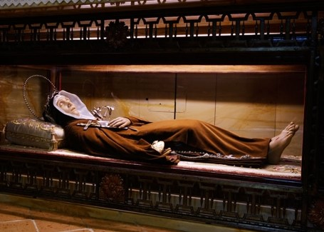 The wax image of St. Veronica that encloses her skull and bones; enshrined and venerated in the Capuchin Monastery of Citta-di-Castello, Italy.