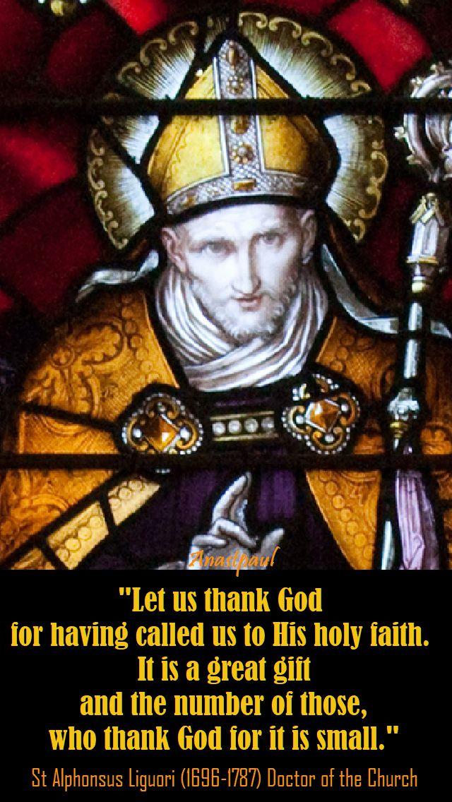 let us thank god for having called us - st alphonsus