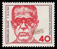 Maximilian Kolbe, on a West German postage stamp, marked Auschwitz