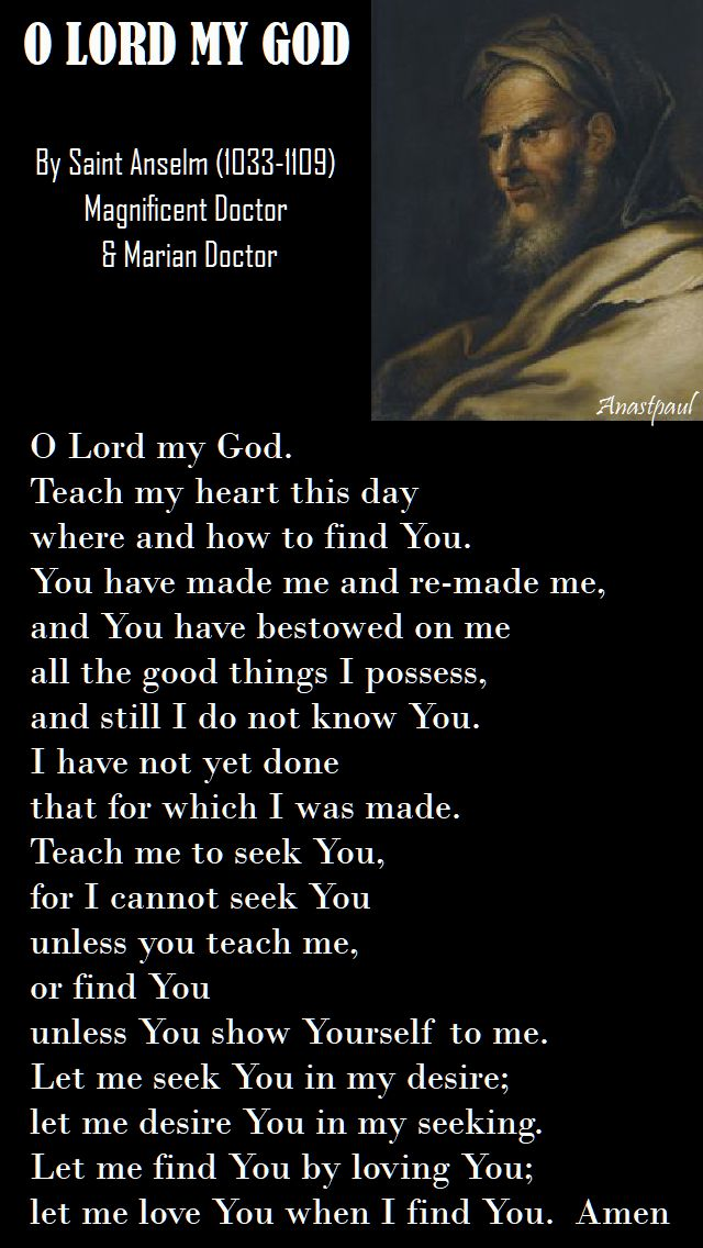 o lord my god - st anselm