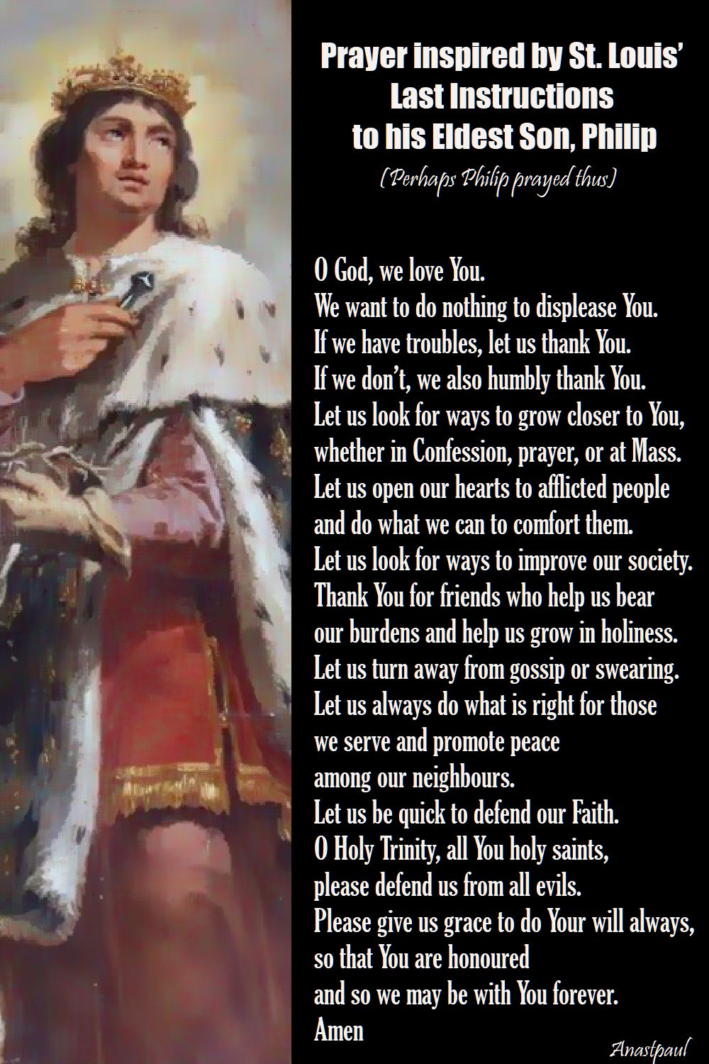 prayer inspired by st Louis' last instructions - st louis king of france