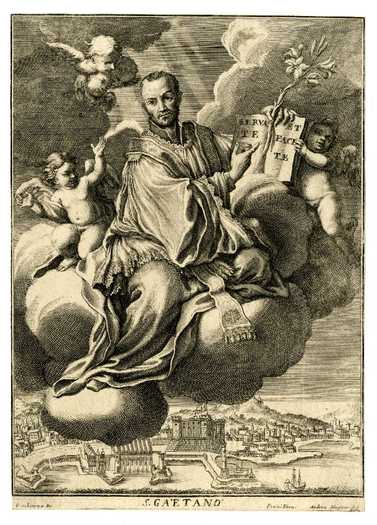 St Cajetan, after the painting by Francesco Solimena, published in 1700 by Paolo Petrini.