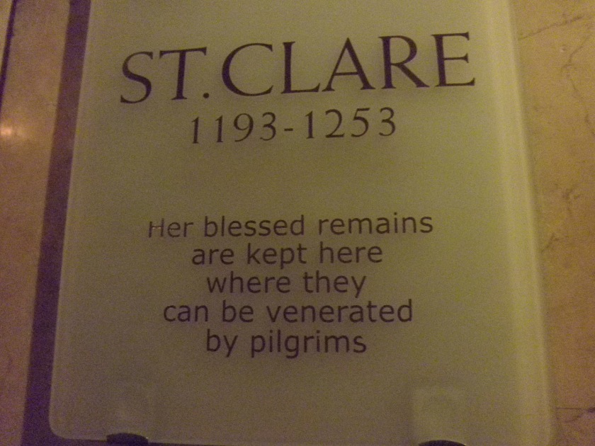 st clare relics