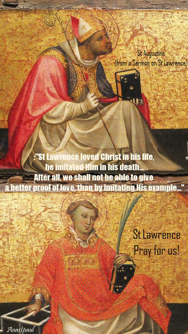 st lawrence imitated Christ in his life - st Augustine