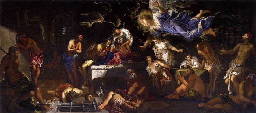 Tintoretto,_Jacopo_-_St_Roch_in_Prison_Visited_by_an_Angel_-_1567