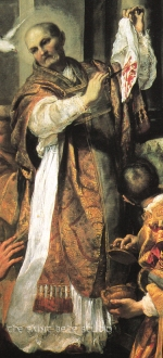 Above the altar of Pope Saint Gregory the Great in Saint Peter's Basilica is a painting by Andrea Sacchi of the well-known miracle which occurred as Saint Gregory offered Mass.