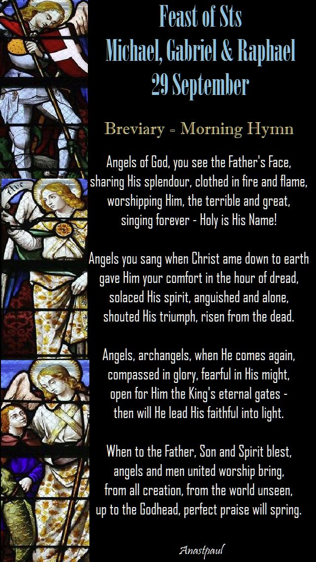 breviary morning hymn - 3 archangels - 29 sept 2017