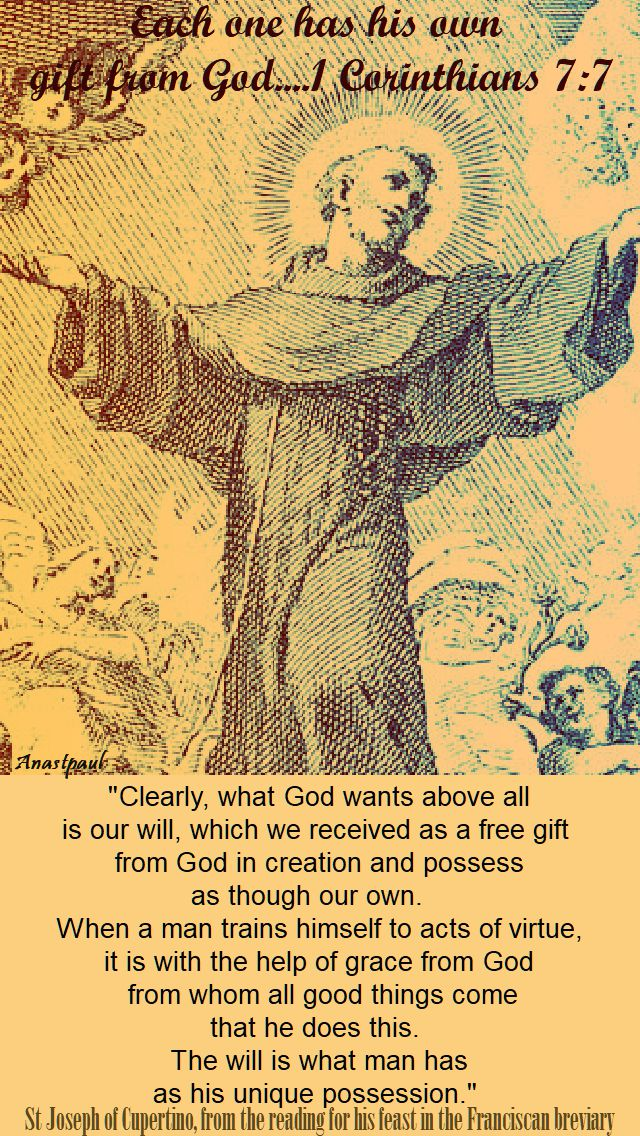 clearly what god wants above all - st joseph of cupertino 18 sept 2017