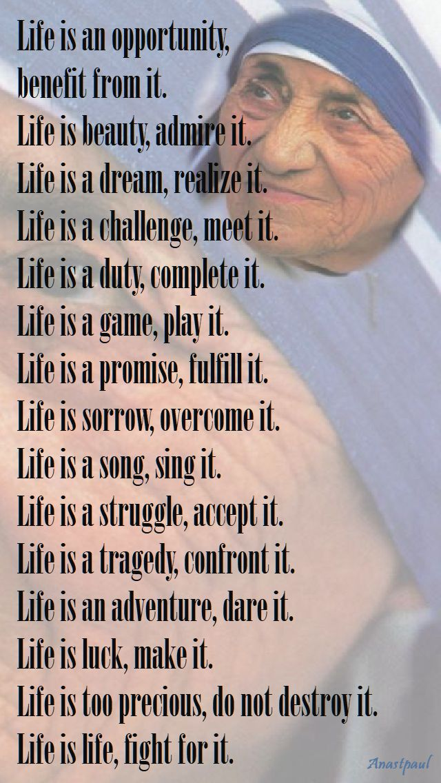 life is an opportunity - my pic - st mother teresa