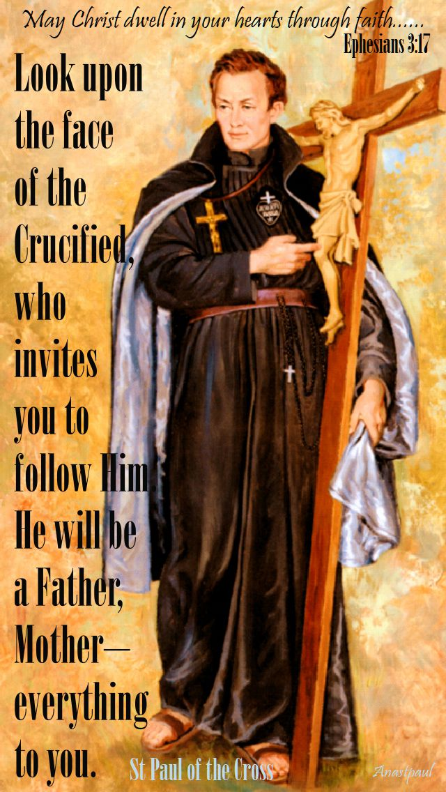 look upon the face - st paul of the cross - memorial of vincent strambi 25 sept 2017